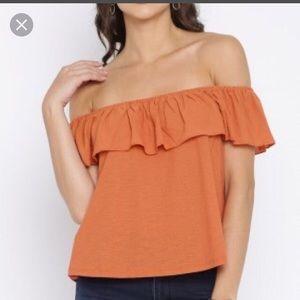Mango XS orange ruffle off the shoulder top